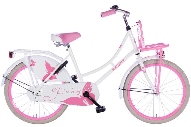 Spirit Omafiets Wit-Roze Meisjesfiets 20 inch