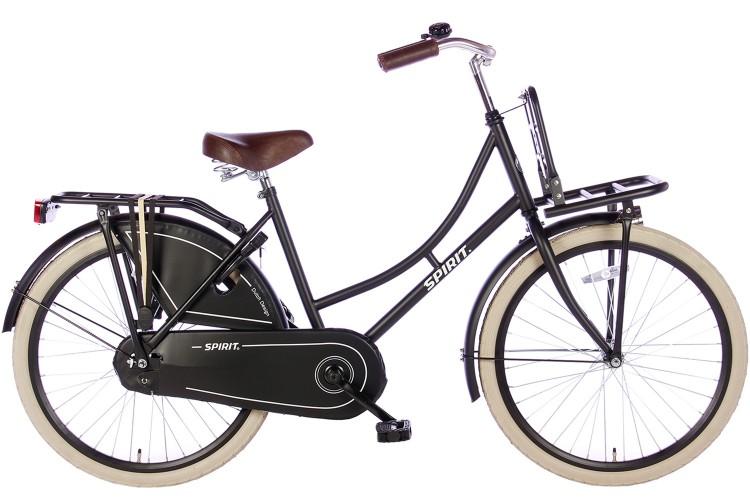 Spirit Omafiets Mat-Zwart Meisjesfiets 24 inch